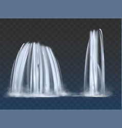 waterfalls or fountains flow 3d realistic vector image