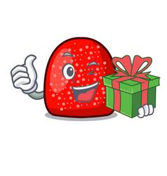With gift gumdrop mascot cartoon style vector