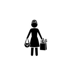 woman with shopping icon black on white background vector image