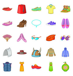 Women things icons set cartoon style vector