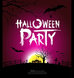 Halloween party at night background vector image