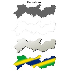 Pernambuco blank outline map set vector image vector image