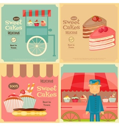 Vendor Cakes Cart and Cupcakes vector image