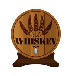 whiskey barrel premium quality wheat wreath flat vector image
