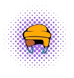 Yellow hockey helmet icon comics style vector image vector image