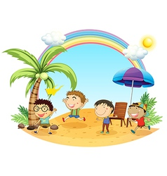 Four boys having an outing at the beach vector image