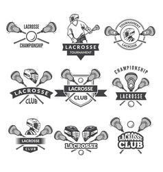 logos or labels for lacrosse team in sport vector image vector image