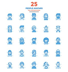 Modern flat line color icons people avatars vector