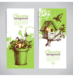 Set of sketch gardening banner templates vector image