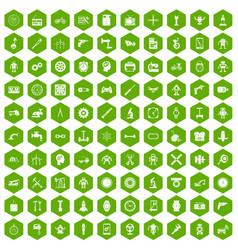 100 gear icons hexagon green vector