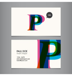 Business card template letter P vector image vector image