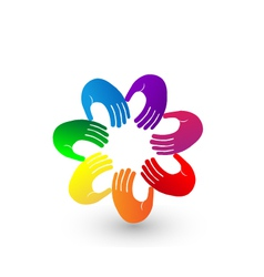 Colorful hands team logo vector image vector image