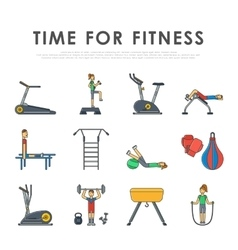 Fitness sport gym exercise equipment workout flat vector image vector image