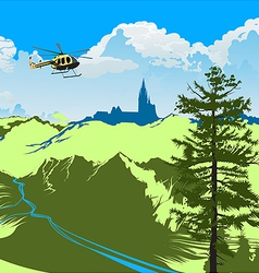 helicopter flying over the green valley vector image vector image