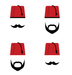 Man head with fez set color vector