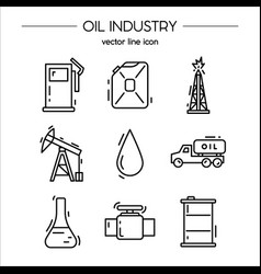 oil industry icon set vector image