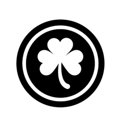 silhouette saint patrick day coin shamrock icon vector image