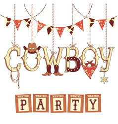 cowboy western party text symbols isolated on vector image vector image