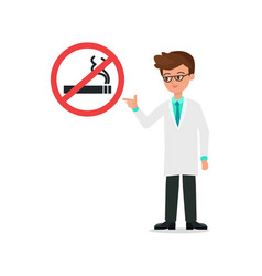 Doctor in suit index to no smoking sign and vector