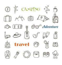 Hand drawn camping icon set Collection of camping vector image