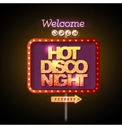 Neon sign hot disco night vector image vector image