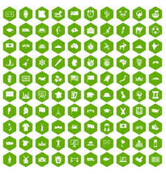 100 geography icons hexagon green vector image