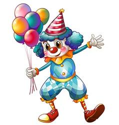 A clown holding balloons vector