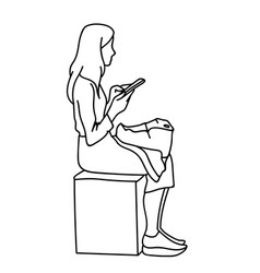 a woman with backpack sitting on cube looking at vector image