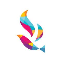 abstract colored bird - logo template vector image