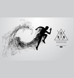Abstract silhouette of running athlete man sprint vector