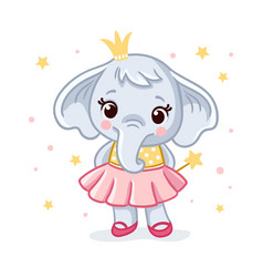 Baby elephant in a beautiful dress vector