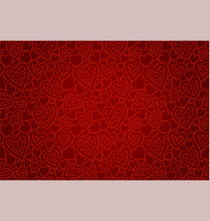 beautiful red seamless pattern with heart shapes vector image