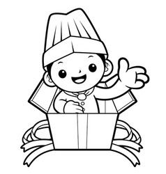 black and white happy chef mascot guide in the vector image