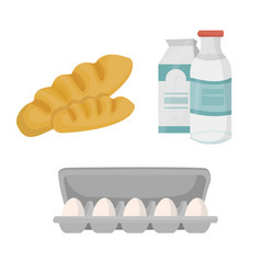 bread milk and package of eggs vector image
