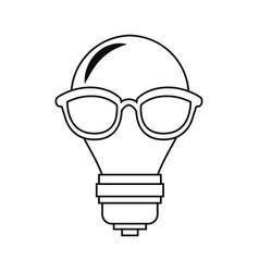 Bulb light with eyeglasses vector