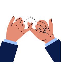 Businessman hands promise gesturing vector