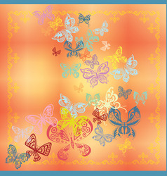 Butterfly set isolated on orange background vector