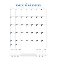 Calendar planner template for 2018 year december vector
