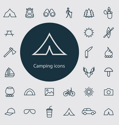 Camping outline thin flat digital icon set vector