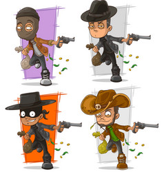 Cartoon bank robber with money character set vector