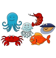 Cartoon sea animals vector