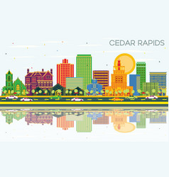 Cedar rapids iowa city skyline with color vector