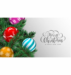 christmas card of colorful baubles on pine tree vector image