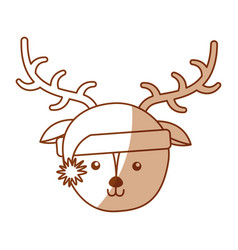 Christmas deer face cartoon vector