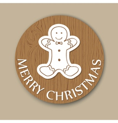 Christmas woody round card vector