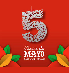 cinco de mayo card mexican paper cut art vector image