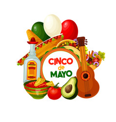 cinco de mayo mexican holiday food and decorations vector image