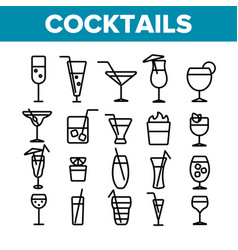 cocktails alcohol and soft drinks linear icons vector image
