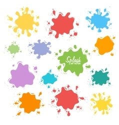 collection paint splash set brush vector image