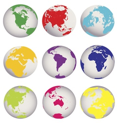 colored earth globes vector image